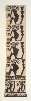 Chimú. <em>Textile Fragment with Monkeys</em>, 1400-1532. Cotton, 31 1/8 x 7 7/8 in. (79 x 20 cm). Brooklyn Museum, Gift of the Ernest Erickson Foundation, Inc., 86.224.138. Creative Commons-BY (Photo: Brooklyn Museum, 86.224.138.jpg)