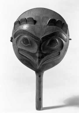 Northwest Coast. <em>Globular Rattle</em>, 19th century. Wool, hide, nails, paint, 12 x 7 x 4 1/4in. (30.5 x 17.8 x 10.8cm). Brooklyn Museum, Gift of the Ernest Erickson Foundation, Inc., 86.224.152. Creative Commons-BY (Photo: Brooklyn Museum, 86.224.152_front_bw_acetate.jpg)