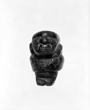 <em>Figurine</em>, 1000-1470. Turquoise, 2 1/4 x 1 1/2 in. Brooklyn Museum, Gift of the Ernest Erickson Foundation, Inc., 86.224.165. Creative Commons-BY (Photo: Brooklyn Museum, 86.224.165_bw.jpg)