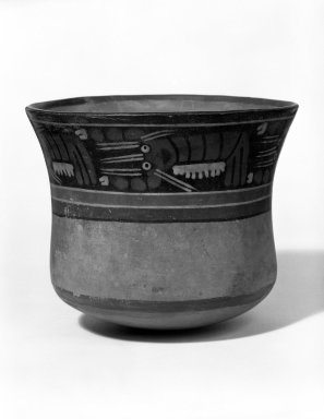 Nazca. <em>Jar</em>, 100-300 C.E. Ceramic, polychrome slip, 5 x 6 1/8 in. Brooklyn Museum, Gift of the Ernest Erickson Foundation, Inc., 86.224.169. Creative Commons-BY (Photo: Brooklyn Museum, 86.224.169_bw.jpg)
