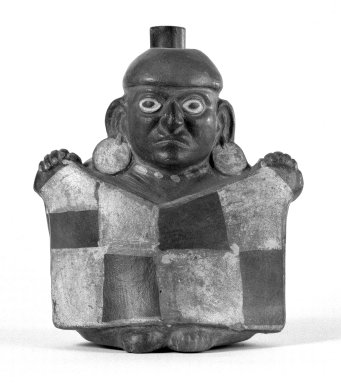 Moche. <em>Effigy Vessel</em>, 400-500. Ceramic, painted slip, 7 1/2 x 6 3/8 x 6 in. (19.1 x 16.2 x 15.2 cm). Brooklyn Museum, Gift of the Ernest Erickson Foundation, Inc., 86.224.170. Creative Commons-BY (Photo: Brooklyn Museum, 86.224.170_bw.jpg)