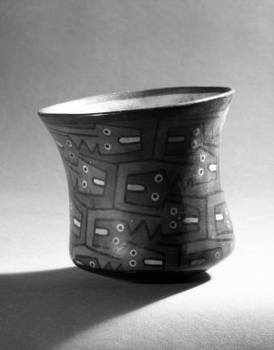 Nazca. <em>Jar</em>, 100-300 C.E. Ceramic, polychrome slip, 4 5/16 x 4 5/8 in. (11 x 11.7 cm). Brooklyn Museum, Gift of the Ernest Erickson Foundation, Inc., 86.224.17. Creative Commons-BY (Photo: Brooklyn Museum, 86.224.17_bw.jpg)