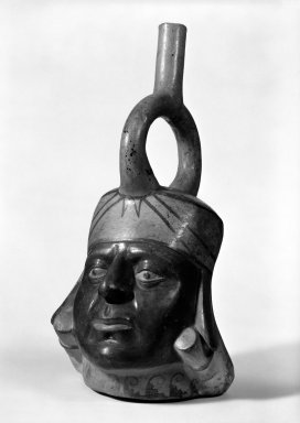 Moche. <em>Portrait Head Vessel</em>, 450-550. Clay, slips, 13 x 6 1/2 x 5 1/8 in.  (33 x 16.5 x 13 cm). Brooklyn Museum, Gift of the Ernest Erickson Foundation, Inc., 86.224.180. Creative Commons-BY (Photo: Brooklyn Museum, 86.224.180_bw.jpg)