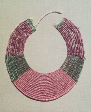 Chimú. <em>Neckpiece, Fragment</em>, 1000-1532. Spondylous and clam shell beads, turquoise beads, cotton., 7 7/8 x 7 1/2in. (20 x 19cm). Brooklyn Museum, Gift of the Ernest Erickson Foundation, Inc., 86.224.181. Creative Commons-BY (Photo: Brooklyn Museum, 86.224.181.jpg)