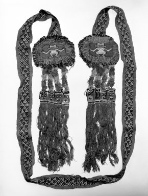 Chancay. <em>Belt or possible Headband</em>, 1000-1532. Cotton, camelid fiber, including tassels: 6 1/4 × 92 in. (15.9 × 233.7 cm). Brooklyn Museum, Gift of the Ernest Erickson Foundation, Inc., 86.224.182. Creative Commons-BY (Photo: Brooklyn Museum, 86.224.182_bw.jpg)