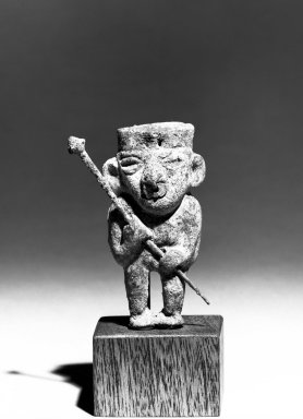 Moche. <em>Figurine</em>, 100-300 C.E. Copper, 3 x 1 9/16 in. Brooklyn Museum, Gift of the Ernest Erickson Foundation, Inc., 86.224.190. Creative Commons-BY (Photo: Brooklyn Museum, 86.224.190_front_bw_acetate.jpg)