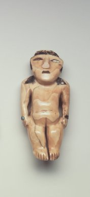 Nazca. <em>Figurine</em>, 300-700 C.E. Ivory, shell, stone, resin, pigment, turquoise, 3 x 1 1/8 x 3/4 in. (7.6 x 2.9 x 1.9 cm). Brooklyn Museum, Gift of the Ernest Erickson Foundation, Inc., 86.224.196. Creative Commons-BY (Photo: Brooklyn Museum, 86.224.196.jpg)