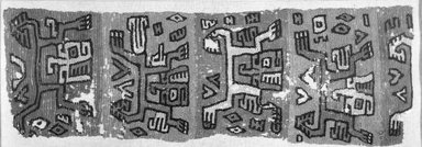 Nazca. <em>Textile</em>, 300-600 C.E. Wool, 19 1/2 × 56 1/2 in. (49.5 × 143.5 cm). Brooklyn Museum, Gift of the Ernest Erickson Foundation, Inc., 86.224.2. Creative Commons-BY (Photo: Brooklyn Museum, 86.224.2_bw_acetate.jpg)
