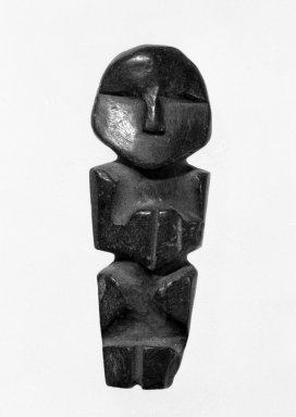 <em>Figurine</em>, before C.E.1500. Stone, 2 3/8 x 15/16 x 1/2in. (6 x 2.4 x 1.3cm). Brooklyn Museum, Gift of the Ernest Erickson Foundation, Inc., 86.224.35. Creative Commons-BY (Photo: Brooklyn Museum, 86.224.35_bw.jpg)