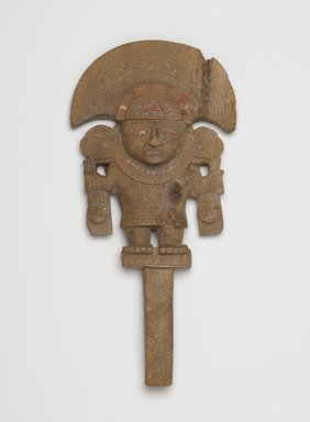 Chimú. <em>Mirror Handle</em>, ca. 850-1470. Wood, gold, turquoise, red pigment, 11 5/8 x 5 9/16 in.  (29.5 x 14.1 cm). Brooklyn Museum, Gift of the Ernest Erickson Foundation, Inc., 86.224.4. Creative Commons-BY (Photo: Brooklyn Museum, 86.224.4_PS2.jpg)
