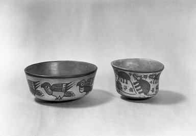 Nazca. <em>Bowl</em>. Ceramic, Height: 2 5/8 in. (6.6 cm). Brooklyn Museum, Gift of Ernest Erickson, 70.177.39. Creative Commons-BY (Photo: , 86.224.53_70.177.39_acetate_bw.jpg)