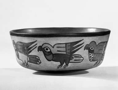 Nazca. <em>Bowl</em>, 200-700 C.E. Ceramic, bichrome slip, 2 7/16 x 5 5/8 in. (6.2 x 14.3 cm). Brooklyn Museum, Gift of the Ernest Erickson Foundation, Inc., 86.224.53. Creative Commons-BY (Photo: Brooklyn Museum, 86.224.53_bw.jpg)