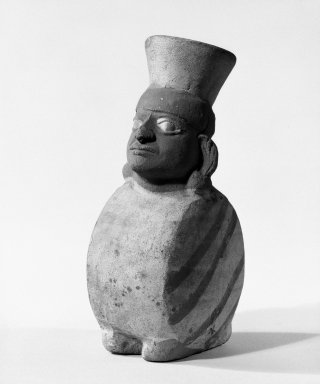 Chancay. <em>Effigy Vessel</em>, 300-500 C.E. Ceramic, bichrome slip, 5 11/16 x 1 3/4 x 2 3/4in. (14.4 x 4.4 x 7cm). Brooklyn Museum, Gift of the Ernest Erickson Foundation, Inc., 86.224.55. Creative Commons-BY (Photo: Brooklyn Museum, 86.224.55_view2_bw.jpg)
