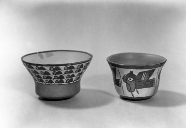 Nazca. <em>Bowl</em>. Ceramic, Height: 3 9/16 in. (9 cm). Brooklyn Museum, Gift of Ernest Erickson, 70.177.41. Creative Commons-BY (Photo: , 86.224.56_70.177.41_acetate_bw.jpg)