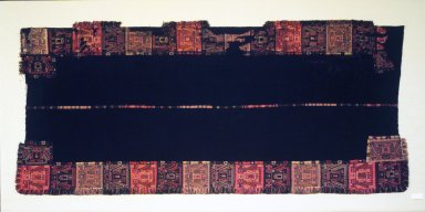 Paracas. <em>Mantle</em>, 100 B.C.E.-100 C.E. Camelid fiber, 110 1/4 x 48 13/16 in. (280 x 124 cm). Brooklyn Museum, Gift of the Ernest Erickson Foundation, Inc., 86.224.90. Creative Commons-BY (Photo: Brooklyn Museum, 86.224.90.jpg)