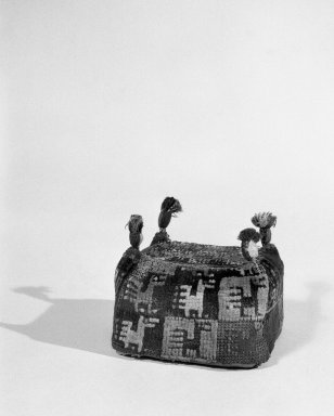 Coastal Wari (attrib by Nobuko Kajatani, 1993). <em>Hat Fragment</em>, 600-1000. Camelid fiber, 4 15/16 x 6 5/16 in. (12.5 x 16 cm). Brooklyn Museum, Gift of the Ernest Erickson Foundation, Inc., 86.224.91. Creative Commons-BY (Photo: Brooklyn Museum, 86.224.91_bw_acetate.jpg)