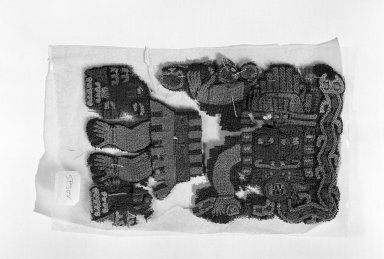 Nazca (Attrib.  by N. Kajitani 1993). <em>Textile or Mantle Fragment</em>, 200-600. Cotton, camelid fiber, 3 3/4 x 5 1/2 in. (9.5 x 14 cm). Brooklyn Museum, Gift of the Ernest Erickson Foundation, Inc., 86.224.97. Creative Commons-BY (Photo: Brooklyn Museum, 86.224.97_bw_acetate.jpg)