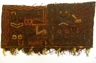 Paracas Necropolis. <em>Mantle or Border Fragment</em>, 800 B.C.E.-C.E. 600. Cotton, camelid fiber, 13 9/16 x 6 11/16 in. (34.5 x 17.0 cm) (plus fringe). Brooklyn Museum, Gift of the Ernest Erickson Foundation, Inc., 86.224.99. Creative Commons-BY (Photo: Brooklyn Museum, 86.224.99_front_PS5.jpg)