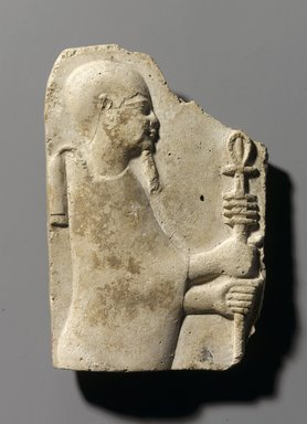 <em>Relief of the God Ptah</em>, 4th-3rd century B.C.E. Stucco, 5 1/4 x 3 5/8 x 7/8 in. (13.4 x 9.2 x 2.3 cm). Brooklyn Museum, Gift of the Ernest Erickson Foundation, Inc., 86.226.17. Creative Commons-BY (Photo: Brooklyn Museum, 86.226.17_PS1.jpg)