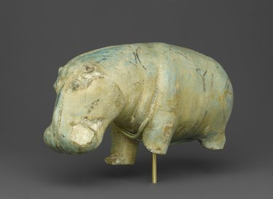 <em>Hippopotamus</em>, ca. 1938-1539 B.C.E. Faience, 4 5/16 × 2 15/16 × 7 3/16 in., 2 lb. (11 × 7.5 × 18.3 cm, 0.91kg). Brooklyn Museum, Gift of the Ernest Erickson Foundation, Inc., 86.226.2. Creative Commons-BY (Photo: Brooklyn Museum, 86.226.2_PS2.jpg)