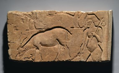 <em>Relief Representation of Goatherd with Goat and Trees</em>, ca. 1350-1333 B.C.E. Limestone, 8 1/4 x 16 3/4 x 2 1/2 in., 22.5 lb. (21 x 42.5 x 6.4 cm, 10.21kg). Brooklyn Museum, Gift of the Ernest Erickson Foundation, Inc., 86.226.30. Creative Commons-BY (Photo: Brooklyn Museum, 86.226.30_PS2.jpg)