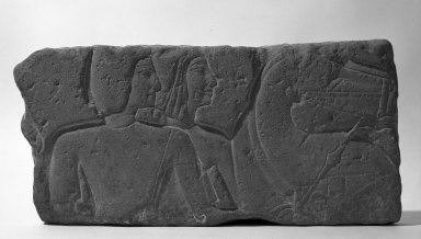 <em>Relief Representation of Men with Horses</em>, 1300-1200 B.C.E. Sandstone, 9 1/4 x 18 13/16 x 1 5/8 in. (23.5 x 47.8 x 4.2 cm). Brooklyn Museum, Gift of the Ernest Erickson Foundation, Inc., 86.226.31. Creative Commons-BY (Photo: Brooklyn Museum, 86.226.31_negA_bw_IMLS.jpg)