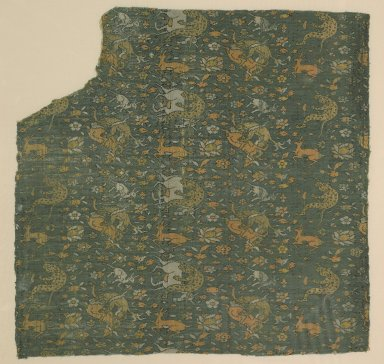 <em>Textile Fragment from a Garment with a Motif of Animals in Combat</em>, 16th-17th century. Brocaded silk, 19 5/8 x 19 1/2in. (49.8 x 49.5cm). Brooklyn Museum, Gift of the Ernest Erickson Foundation, Inc., 86.227.105. Creative Commons-BY (Photo: Brooklyn Museum, 86.227.105_PS2.jpg)