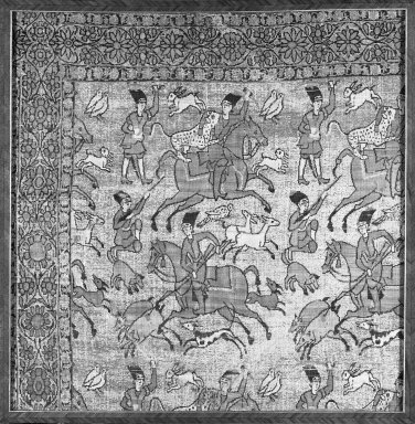 <em>Textile Fragment of Hunting Scene</em>, 17th century. Silk brocade, 14 1/2 x 14in. (36.8 x 35.6cm). Brooklyn Museum, Gift of the Ernest Erickson Foundation, Inc., 86.227.107. Creative Commons-BY (Photo: Brooklyn Museum, 86.227.107_acetate_bw.jpg)