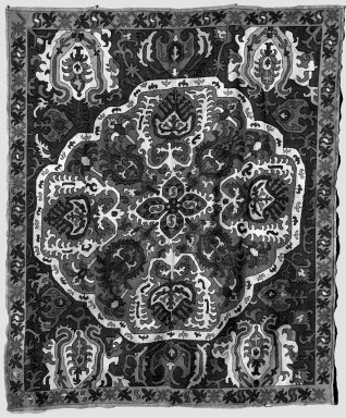 <em>Textile with Stylized Embroidered Pattern</em>, 17th century. Linen, silk, 58 x 48 in. Brooklyn Museum, Gift of the Ernest Erickson Foundation, Inc., 86.227.109. Creative Commons-BY (Photo: Brooklyn Museum, 86.227.109_acetate_bw.jpg)