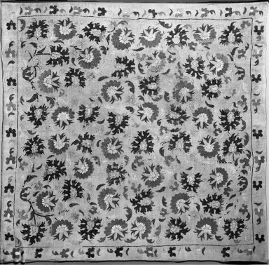 <em>Cushion Cover</em>, late 18th century. Linen, embroidered, 42 1/2 x 41 1/4in. (108 x 104.8cm). Brooklyn Museum, Gift of the Ernest Erickson Foundation, Inc., 86.227.112. Creative Commons-BY (Photo: Brooklyn Museum, 86.227.112_acetate_bw.jpg)