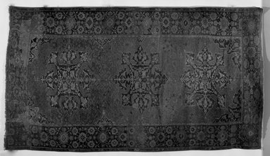 <em>Star Ushak Carpet</em>, 17th century. Wool, Dimensions 2005: 138 x 75 1/4 in. (350.5 x 191.1 cm). Brooklyn Museum, Gift of the Ernest Erickson Foundation, Inc., 86.227.114. Creative Commons-BY (Photo: Brooklyn Museum, 86.227.114a_overall_acetate_bw.jpg)