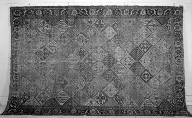 <em>Garden Carpet</em>, 17th-18th century. White cotton warp and weft, wool pile, 190 x 118in. (482.6 x 299.7cm). Brooklyn Museum, Gift of the Ernest Erickson Foundation, Inc., 86.227.117. Creative Commons-BY (Photo: Brooklyn Museum, 86.227.117a_overall_acetate_bw.jpg)