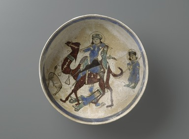 <em>Bowl Depicting Bahram Gur and Azada</em>, late 12th-early 13th century. Ceramic, mina'i (enameled) or haft rangi (seven colors) ware; fritware, in-glaze painted in blue, green, and brown on an opaque white glaze, overglaze painted in black, height x diameter: 4 x 8 5/16 in. (10.2 x 21.1 cm). Brooklyn Museum, Gift of the Ernest Erickson Foundation, Inc., 86.227.11. Creative Commons-BY (Photo: Brooklyn Museum, 86.227.11_PS2.jpg)