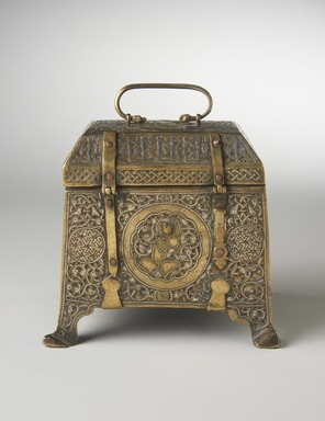 <em>Casket</em>, 14th century. Brass, inlaid with silver, chased and engraved, 5 3/8 x 6 7/8 x 4 3/4 in. (13.7 x 17.5 x 12.1 cm). Brooklyn Museum, Gift of the Ernest Erickson Foundation, Inc., 86.227.121. Creative Commons-BY (Photo: Brooklyn Museum, 86.227.121_front_PS11.jpg)