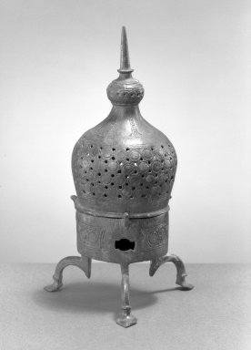 <em>Incense Burner</em>, 12th century. Bronze, incised and openwork decoration, 10 x 4in. (25.4 x 10.2cm). Brooklyn Museum, Gift of the Ernest Erickson Foundation, Inc., 86.227.122. Creative Commons-BY (Photo: Brooklyn Museum, 86.227.122_acetate_bw.jpg)