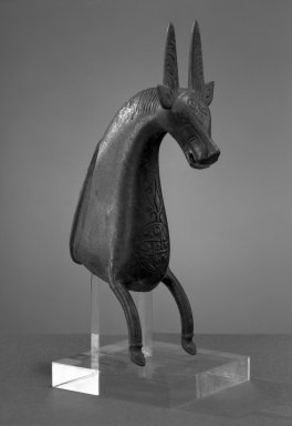 <em>Foot in the Form of a Horse</em>, 11th-12th century. Bronze, cast, engraved, 6 1/4 x 2 1/8 in. Brooklyn Museum, Gift of the Ernest Erickson Foundation, Inc., 86.227.124. Creative Commons-BY (Photo: Brooklyn Museum, 86.227.124_acetate_bw.jpg)