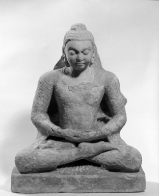 <em>Seated Buddha</em>, late 4th-early 5th century. Tan sandstone, w/o base: 20 7/8 x 17 3/4 in. (53 x 45.1 cm). Brooklyn Museum, Gift of the Ernest Erickson Foundation, Inc., 86.227.134. Creative Commons-BY (Photo: Brooklyn Museum, 86.227.134a_front_acetate_bw.jpg)