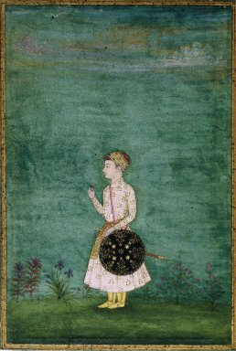 Indian. <em>Portrait of a Prince</em>, late 17th century. Opaque watercolor on paper, sheet: 5 13/16 x 3 15/16 in.  (14.8 x 10.0 cm). Brooklyn Museum, Gift of the Ernest Erickson Foundation, Inc., 86.227.139 (Photo: Brooklyn Museum, 86.227.139_SL1.jpg)