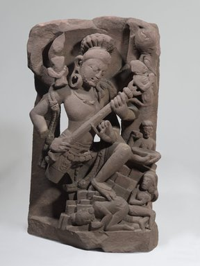 <em>Shiva Andhakasura</em>, late 8th century. Red sandstone, 28 3/8 x 16 5/16 x 11 7/16 in., 209.5 lb. (72 x 41.5 x 29 cm, 95.03kg). Brooklyn Museum, Gift of the Ernest Erickson Foundation, Inc., 86.227.145. Creative Commons-BY (Photo: Brooklyn Museum, 86.227.145_PS6.jpg)