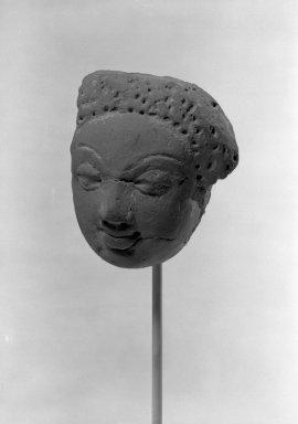 <em>Head</em>, 5th century. Terracotta, 3 3/4 x 3in. (9.5 x 7.6cm). Brooklyn Museum, Gift of the Ernest Erickson Foundation, Inc., 86.227.146. Creative Commons-BY (Photo: Brooklyn Museum, 86.227.146_acetate_bw.jpg)