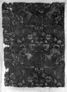 <em>Textile Fragment with a Young Man Reading</em>, 17th century or later. Silk and cotton, 10 x 14in. (25.4 x 35.6cm). Brooklyn Museum, Gift of the Ernest Erickson Foundation, Inc., 86.227.147. Creative Commons-BY (Photo: Brooklyn Museum, 86.227.147_acetate_bw.jpg)