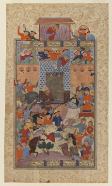 "<em>Folio from a ""Shahnameh"": The Iranians Capture Afrasiyab's      Fortress</em>, ca. 1580-1590. Ink and opaque watercolor on paper, 14 1/2 x 8 3/4in. (36.8 x 22.2cm). Brooklyn Museum, Gift of the Ernest Erickson Foundation, Inc., 86.227.148 (Photo: Brooklyn Museum, 86.227.148_IMLS_PS3.jpg)"