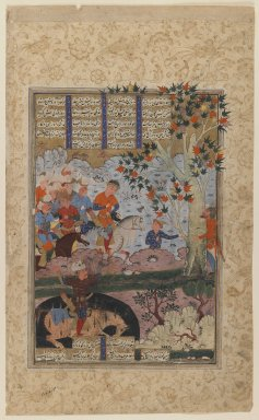 "<em>Folio from a ""Shahnameh"": The Death of Rustam and His Killing   Shaghad</em>, ca. 1580-1590. Ink and opaque watercolor on paper, 14 1/2 x 8 3/4in. (36.8 x 22.2cm). Brooklyn Museum, Gift of the Ernest Erickson Foundation, Inc., 86.227.151 (Photo: Brooklyn Museum, 86.227.151_recto_IMLS_PS3.jpg)"