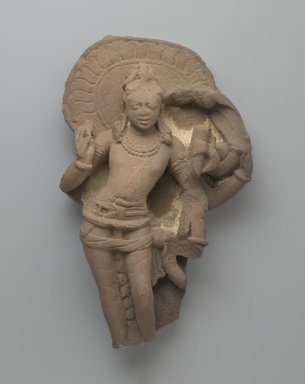 <em>Balarama</em>, ca. 8th-9th century. Red sandstone, 17 1/2 x 10 3/4in. (44.5 x 27.3cm). Brooklyn Museum, Gift of the Ernest Erickson Foundation, Inc., 86.227.158. Creative Commons-BY (Photo: Brooklyn Museum, 86.227.158_PS2.jpg)