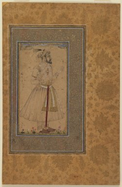 Indian. <em>Portrait of Shah Jahan (possibly)</em>, late 17th century. Ink drawing with slight color on paper, mounted on gold-sprinkled border, sheet: 12 x 7 7/8 in.  (30.5 x 20.0 cm). Brooklyn Museum, Gift of the Ernest Erickson Foundation, Inc., 86.227.164 (Photo: Brooklyn Museum, 86.227.164_IMLS_PS3.jpg)