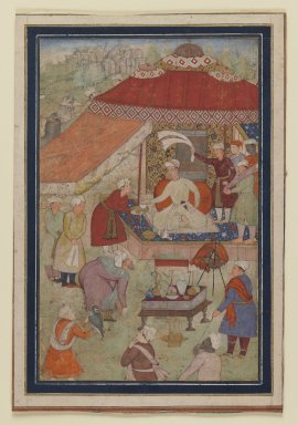 Indian. <em>Tent Encampment</em>, 1580-1595. Opaque watercolor and gold on paper, sheet: 9 3/4 x 6 5/8 in.  (24.8 x 16.8 cm). Brooklyn Museum, Gift of the Ernest Erickson Foundation, Inc., 86.227.165 (Photo: Brooklyn Museum, 86.227.165_IMLS_PS3.jpg)