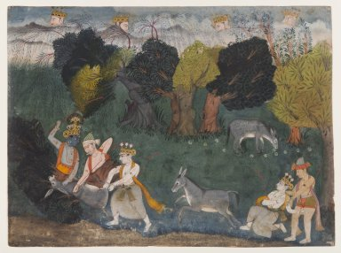 Indian. <em>Balarama Kills the Ass Demon, Page from a Dispersed Bhagavata Purana Series</em>, ca. 1725. Opaque watercolor and silver on paper, sheet: 8 3/16 x 11 in.  (20.8 x 27.9 cm). Brooklyn Museum, Gift of the Ernest Erickson Foundation, Inc., 86.227.166 (Photo: Brooklyn Museum, 86.227.166_IMLS_PS4.jpg)