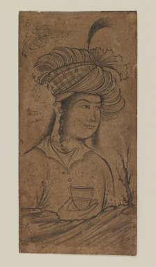 Muhammad 'Ali. <em>Young Man Holding a Cup</em>, 1650-1660. Ink on paper, 4 1/2 x 2 1/4in. (11.4 x 5.7cm). Brooklyn Museum, Gift of the Ernest Erickson Foundation, Inc., 86.227.168 (Photo: Brooklyn Museum, 86.227.168_IMLS_PS3.jpg)