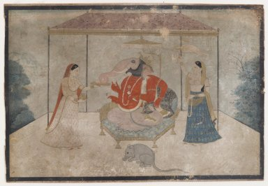 Indian. <em>Ganesha with Two Attendants</em>, ca. 1790-1825. Opaque watercolor and gold on paper, sheet: 6 1/8 x 8 15/16 in.  (15.6 x 22.7 cm). Brooklyn Museum, Gift of the Ernest Erickson Foundation, Inc., 86.227.178 (Photo: Brooklyn Museum, 86.227.178_IMLS_PS4.jpg)