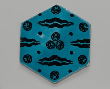 <em>Hexagonal Tile with Çintamani Pattern</em>, 16th century. Ceramic; fritware, painted in black under a transparent turquoise glaze, 10 3/8 x 10 3/8in. (26.4 x 26.4cm). Brooklyn Museum, Gift of the Ernest Erickson Foundation, Inc., 86.227.194. Creative Commons-BY (Photo: Brooklyn Museum, 86.227.194_PS2.jpg)